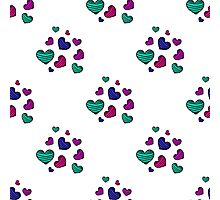 seamless pattern with colorful striped hearts Photographic Print