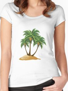 Cartoon island with palms Women's Fitted Scoop T-Shirt