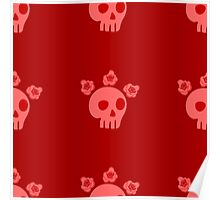 seamless pattern with skulls and roses. Mexican Day of the Dead. Cute doodle drawing Poster