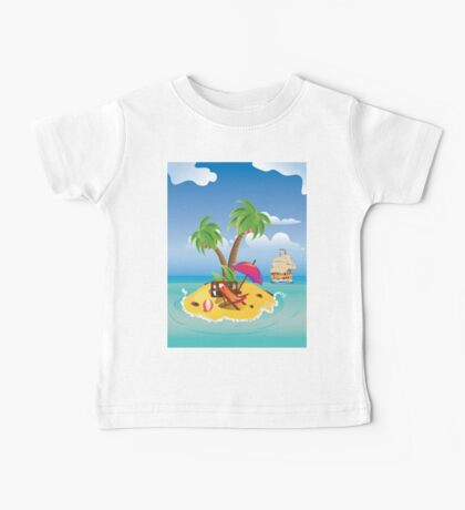 Cartoon Palm Island Baby Tee