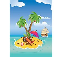 Cartoon Palm Island Photographic Print
