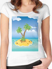 Cartoon Palm Island Women's Fitted Scoop T-Shirt