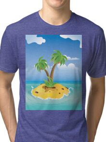 Cartoon Palm Island Tri-blend T-Shirt