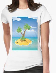 Cartoon Palm Island Womens Fitted T-Shirt
