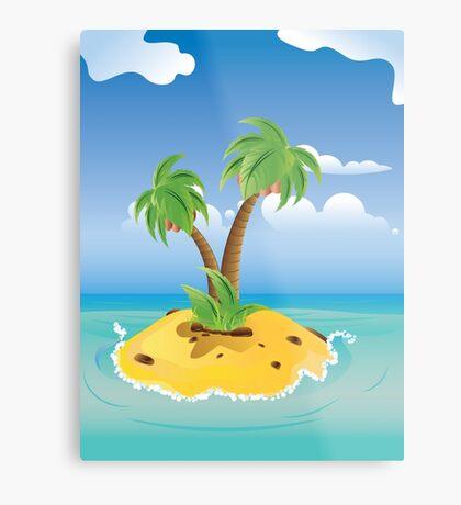 Cartoon Palm Island Metal Print