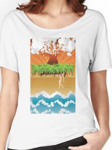 Cartoon volcano island and girl Women's Relaxed Fit T-Shirt