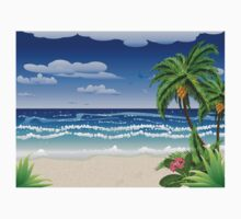 Palm tree on beach Kids Clothes