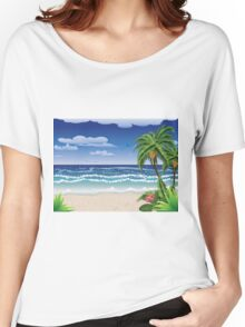 Palm tree on beach Women's Relaxed Fit T-Shirt