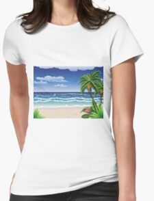 Palm tree on beach Womens Fitted T-Shirt