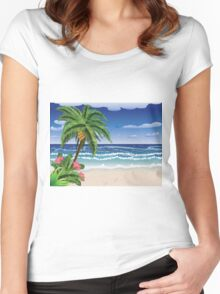 Palm tree on beach 2 Women's Fitted Scoop T-Shirt