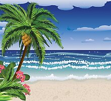Palm tree on beach 2 by AnnArtshock