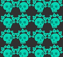 seamless pattern with skulls and roses. Mexican Day of the Dead. Cute doodle drawing by Ann-Julia