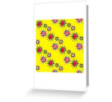 seamless pattern with colorful stars on a yellow background. Bright geometric pattern. Greeting Card