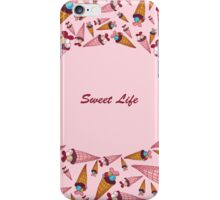 "A vector illustration with sweets and the text ""Sweet life"". Cute background.  Color doodle background iPhone Case/Skin"