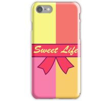 """Greeting card. A vector illustration with sweets and the text """"Sweet life"""". Cute background.  Color doodle background iPhone Case/Skin"""