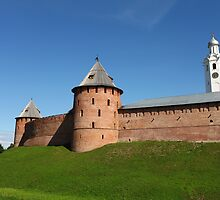 View of the fortress wall of the Novgorod Kremlin by mrivserg