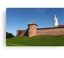 View of the fortress wall of the Novgorod Kremlin Canvas Print