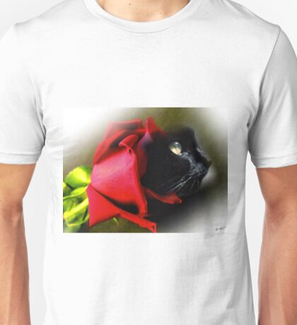 Black Cat with Red Rose Unisex T-Shirt