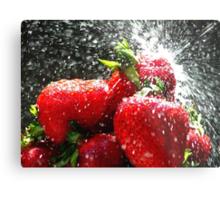Strawberry Splatter Metal Print