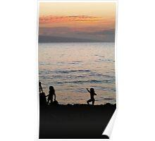 At Play on Kaanapali Beach at Sunset Poster