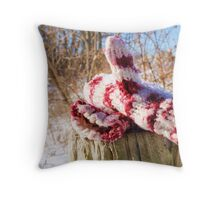 snowy mittens Throw Pillow