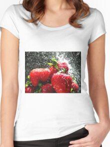 Strawberry Splatter Women's Fitted Scoop T-Shirt