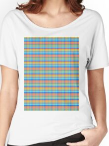 blue orange plaid Women's Relaxed Fit T-Shirt