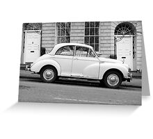 Morris Minor 1000 vintage British motor car parked on a hill in Bath England  Greeting Card