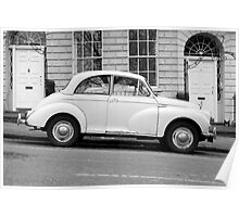 Morris Minor 1000 vintage British motor car parked on a hill in Bath England  Poster
