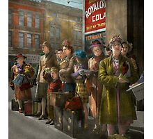 People - People waiting for the bus - 1943 Photographic Print