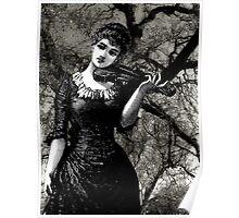 Woman, Violin, Trees Poster