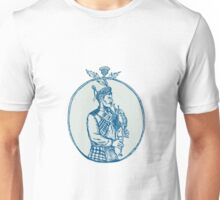 Scotsman Bagpiper Playing Bagpipes Etching Unisex T-Shirt