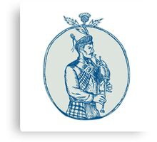 Scotsman Bagpiper Playing Bagpipes Etching Canvas Print