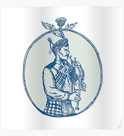 Scotsman Bagpiper Playing Bagpipes Etching Poster