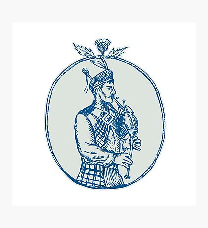 Scotsman Bagpiper Playing Bagpipes Etching Photographic Print