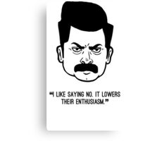Ron Swanson with quote 2 Canvas Print