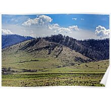 Tocile, country hill landscape from Sadu, Sibiu county, Romania Poster