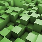 Green cubes field by Luigi De Frenza