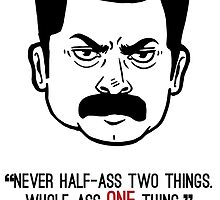 Ron Swanson with quote 3 by Liieszz