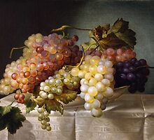 Still life with grapes in a porcelain dish (c. 1850 Austria) by Colnaghi by Adam Asar
