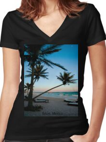 Tulúm, Mexico Women's Fitted V-Neck T-Shirt