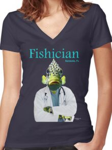 Fishician Women's Fitted V-Neck T-Shirt