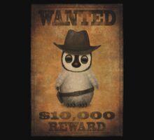 Cute Baby Penguin Cowboy Vintage Wanted Poster Kids Tee