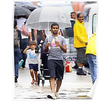 aziz ansari walking in rain with umbrella  Poster