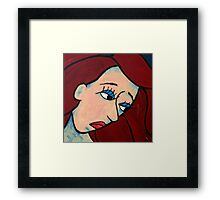 Sad Girl Expressive Abstract Portrait Framed Print