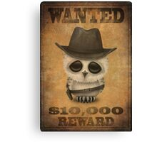 Cute Baby Owl Cowboy Vintage Wanted Poster Canvas Print
