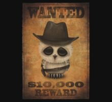 Cute Baby Owl Cowboy Vintage Wanted Poster Baby Tee