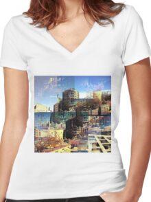 CAM02282-CAM02285_GIMP_B Women's Fitted V-Neck T-Shirt