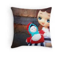 2 Dolls Together Throw Pillow
