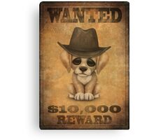 Cute Puppy Dog Cowboy Vintage Wanted Poster Canvas Print